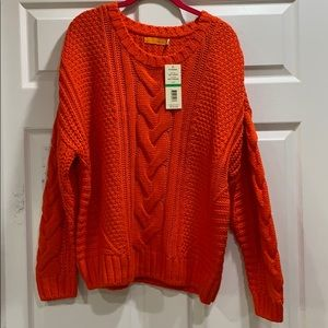 Nwt One A Riot Orange Oversized Cable Knit Sweater